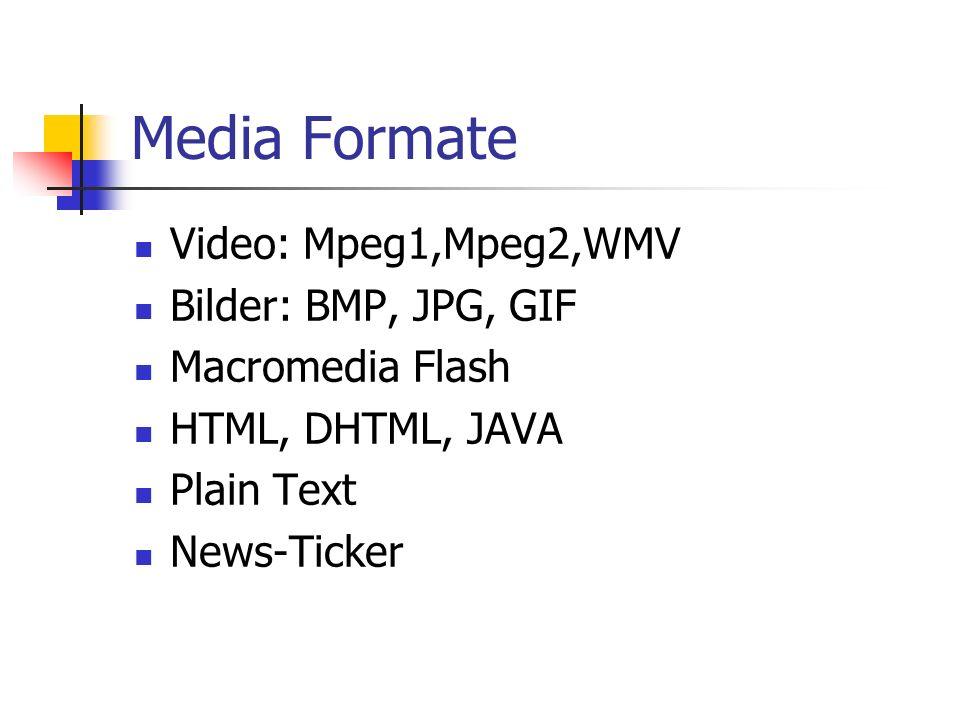 Media Formate Video: Mpeg1,Mpeg2,WMV Bilder: BMP, JPG, GIF Macromedia Flash HTML, DHTML, JAVA Plain Text News-Ticker