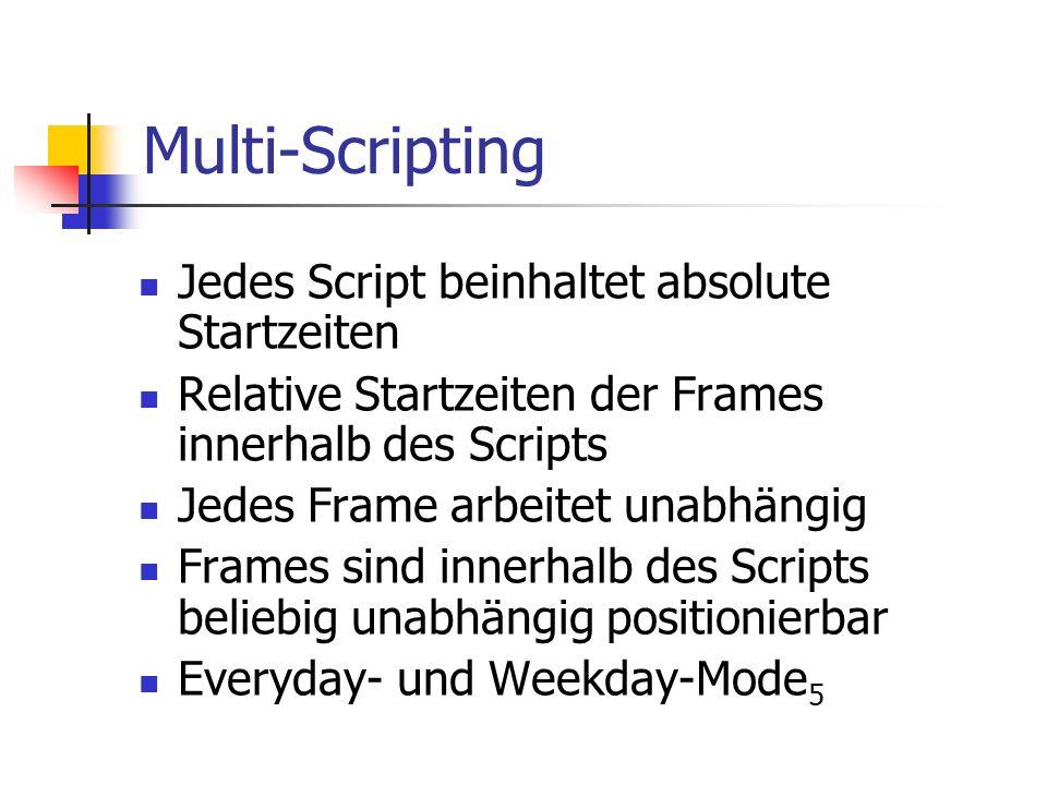Multi-Scripting Jedes Script beinhaltet absolute Startzeiten Relative Startzeiten der Frames innerhalb des Scripts Jedes Frame arbeitet unabhängig Frames sind innerhalb des Scripts beliebig unabhängig positionierbar Everyday- und Weekday-Mode 5