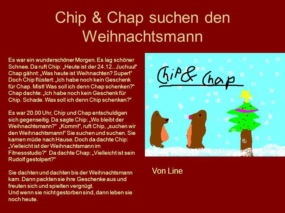 Chip & Chap suchen den Weihnachtsmann Von Line Es war ein wunderschöner Morgen. Es lag schöner Schnee. Da ruft Chip: Heute ist der 24.12.. Juchuu! Cha