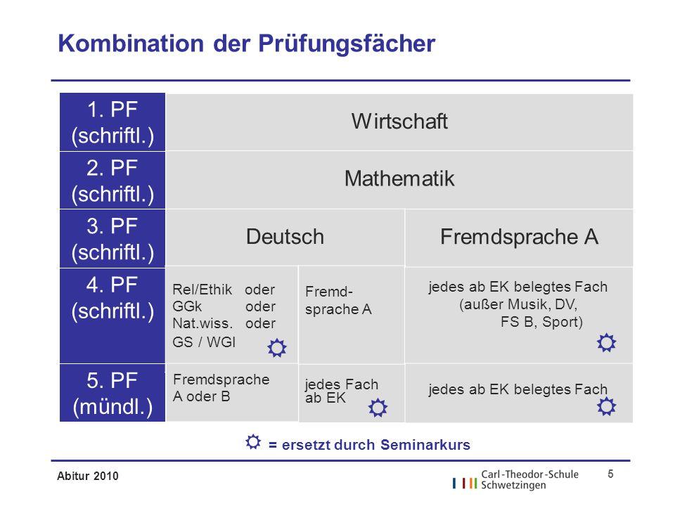 Abitur 2010 5 1. PF (schriftl.) 2. PF (schriftl.) 3.