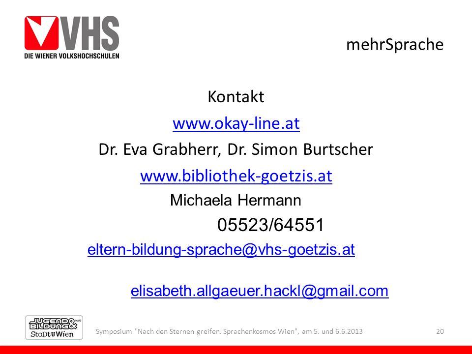 mehrSprache Kontakt www.okay-line.at Dr. Eva Grabherr, Dr. Simon Burtscher www.bibliothek-goetzis.at Michaela Hermann 05523/64551 eltern-bildung-sprac