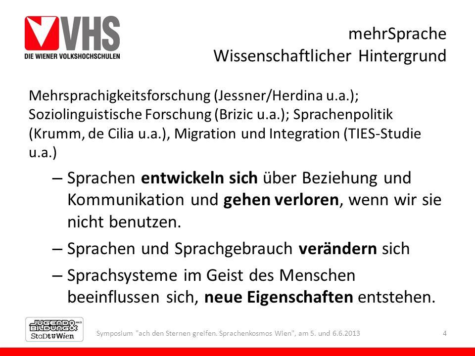 mehrSprache Wissenschaftlicher Hintergrund Mehrsprachigkeitsforschung (Jessner/Herdina u.a.); Soziolinguistische Forschung (Brizic u.a.); Sprachenpoli