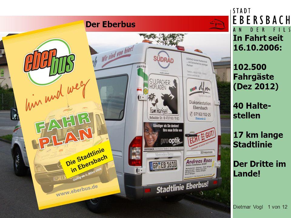 Der Eberbus In Fahrt seit 16.10.2006: 102.500 Fahrgäste (Dez 2012) 40 Halte- stellen 17 km lange Stadtlinie Der Dritte im Lande.