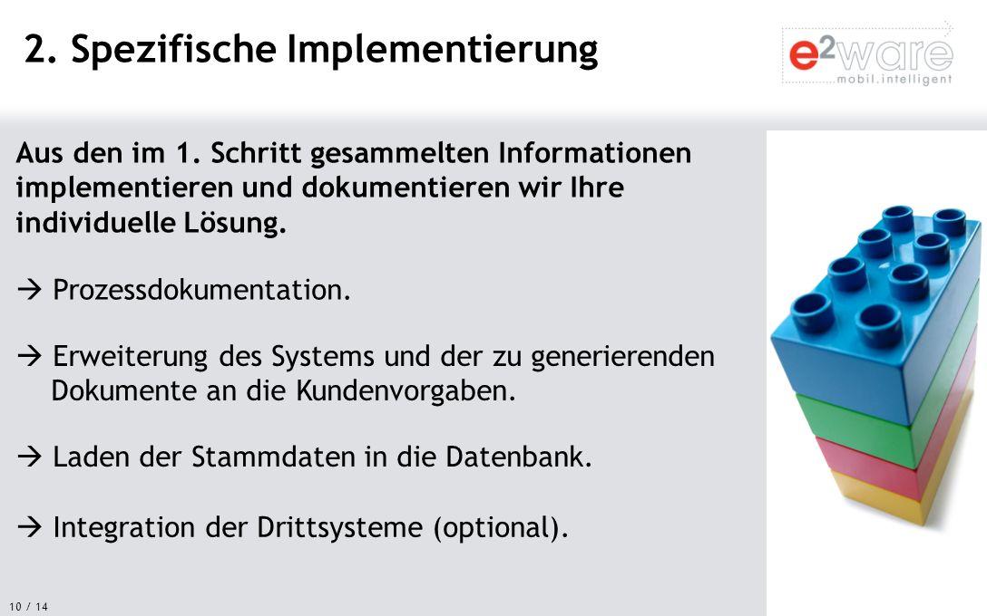 10 / 14 Aus den im 1. Schritt gesammelten Informationen implementieren und dokumentieren wir Ihre individuelle Lösung. 2. Spezifische Implementierung