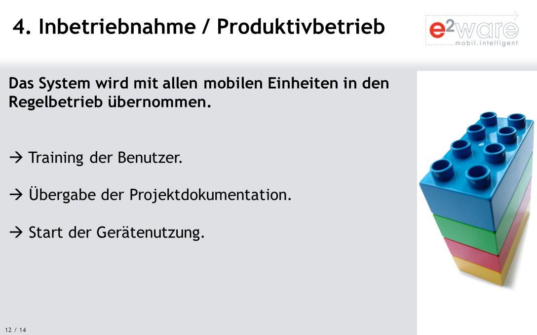 12 / 14 Das System wird mit allen mobilen Einheiten in den Regelbetrieb übernommen. 4. Inbetriebnahme / Produktivbetrieb Training der Benutzer. Überga