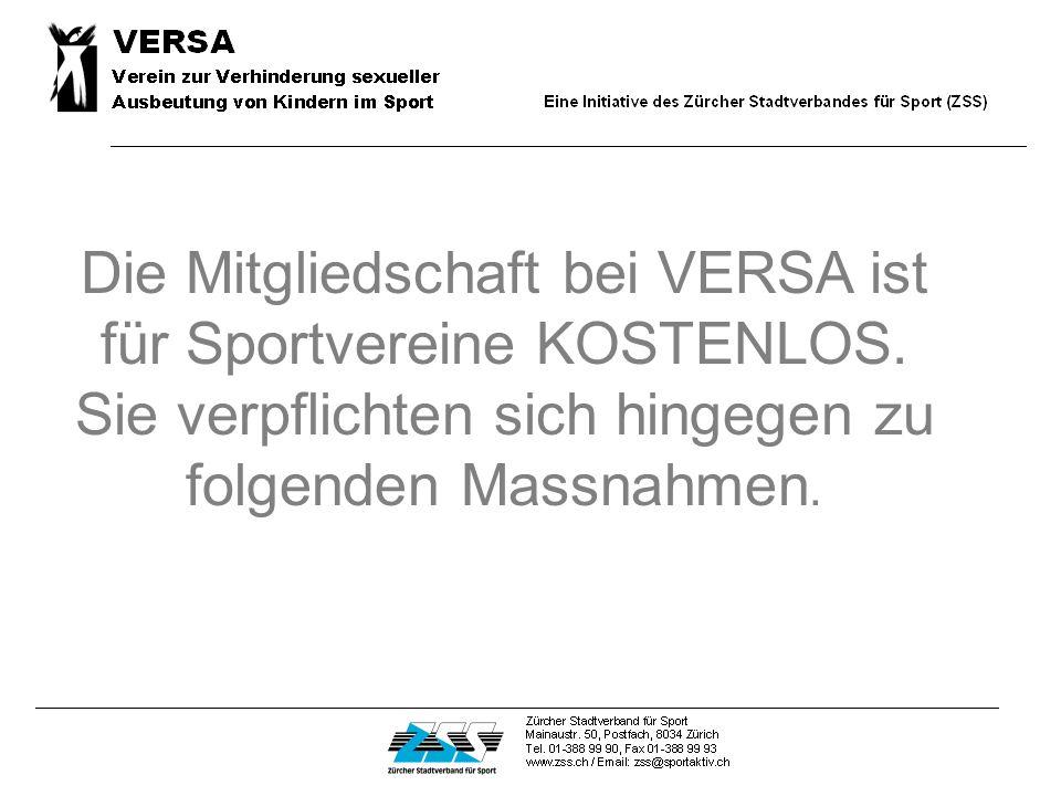 Die Mitgliedschaft bei VERSA ist für Sportvereine KOSTENLOS.