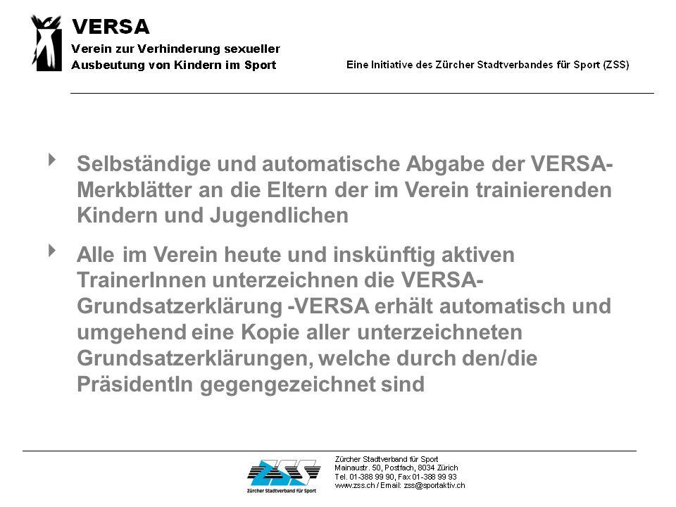 Die Mitgliedschaft bei VERSA ist für Sportvereine KOSTENLOS. Sie verpflichten sich hingegen zu folgenden Massnahmen.