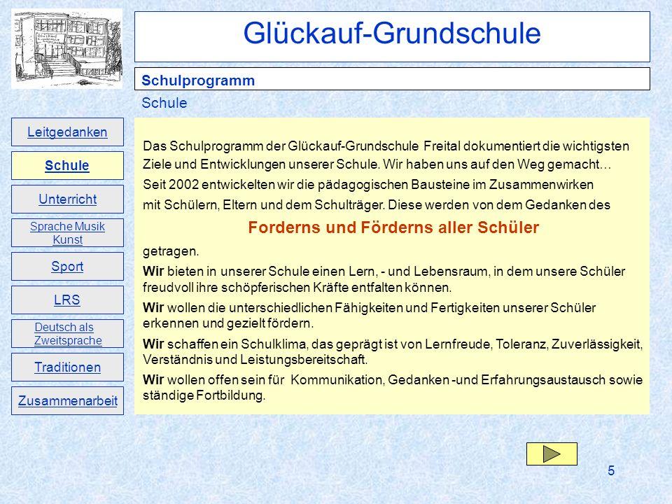 5 Das Schulprogramm der Glückauf-Grundschule Freital dokumentiert die wichtigsten Ziele und Entwicklungen unserer Schule. Wir haben uns auf den Weg ge