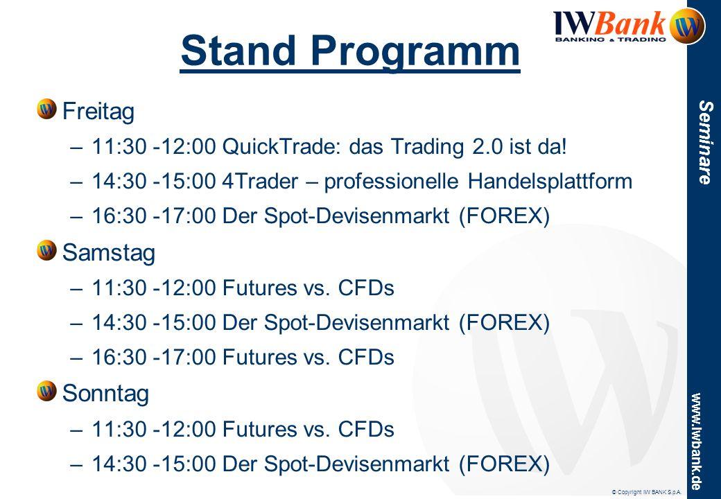 www.iwbank.de Seminare Stand Programm Freitag –11:30 -12:00 QuickTrade: das Trading 2.0 ist da! –14:30 -15:00 4Trader – professionelle Handelsplattfor