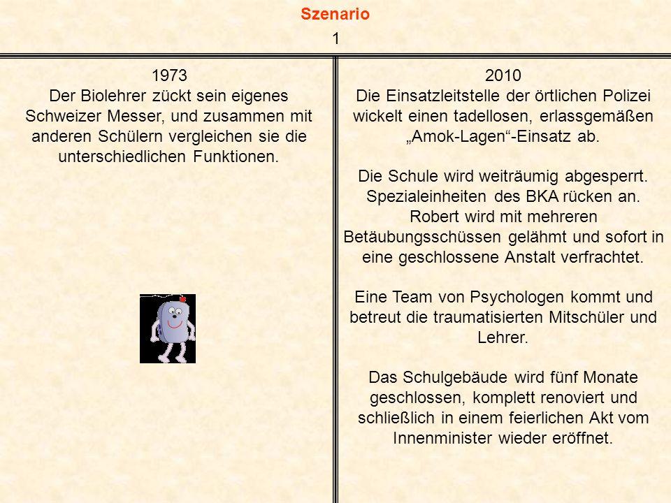Szenario 1973 Der Biolehrer zückt sein eigenes Schweizer Messer, und zusammen mit anderen Schülern vergleichen sie die unterschiedlichen Funktionen.