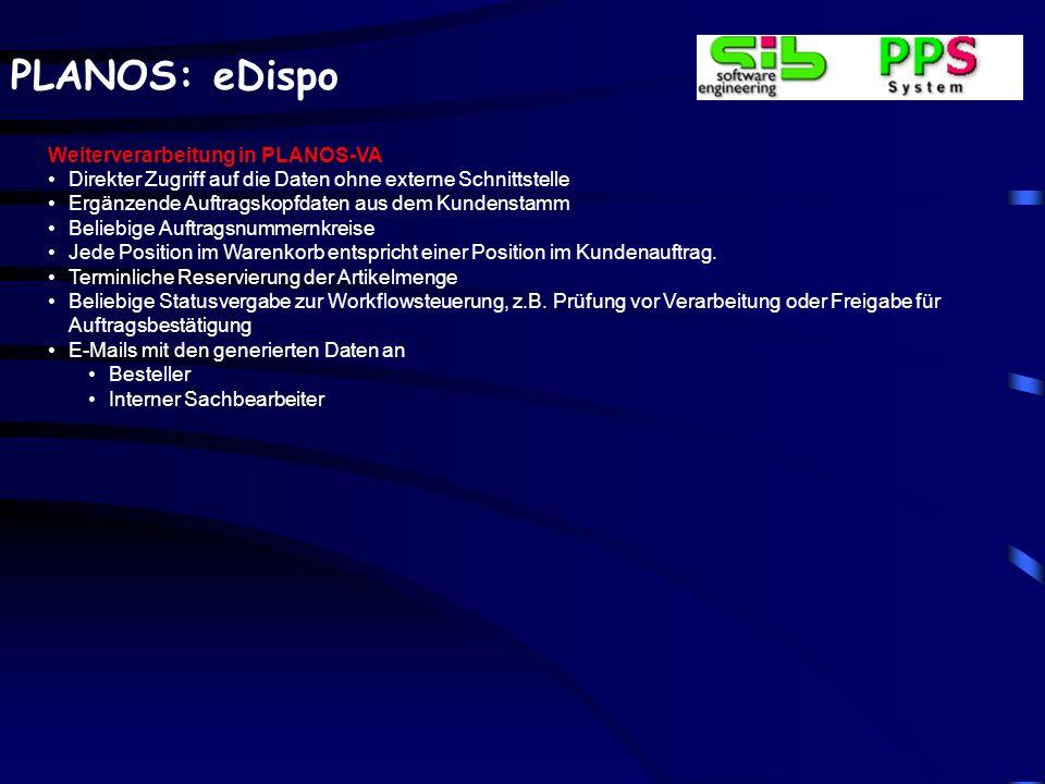 PLANOS: eDispo Weiterverarbeitung in PLANOS-VA Direkter Zugriff auf die Daten ohne externe Schnittstelle Ergänzende Auftragskopfdaten aus dem Kundenst