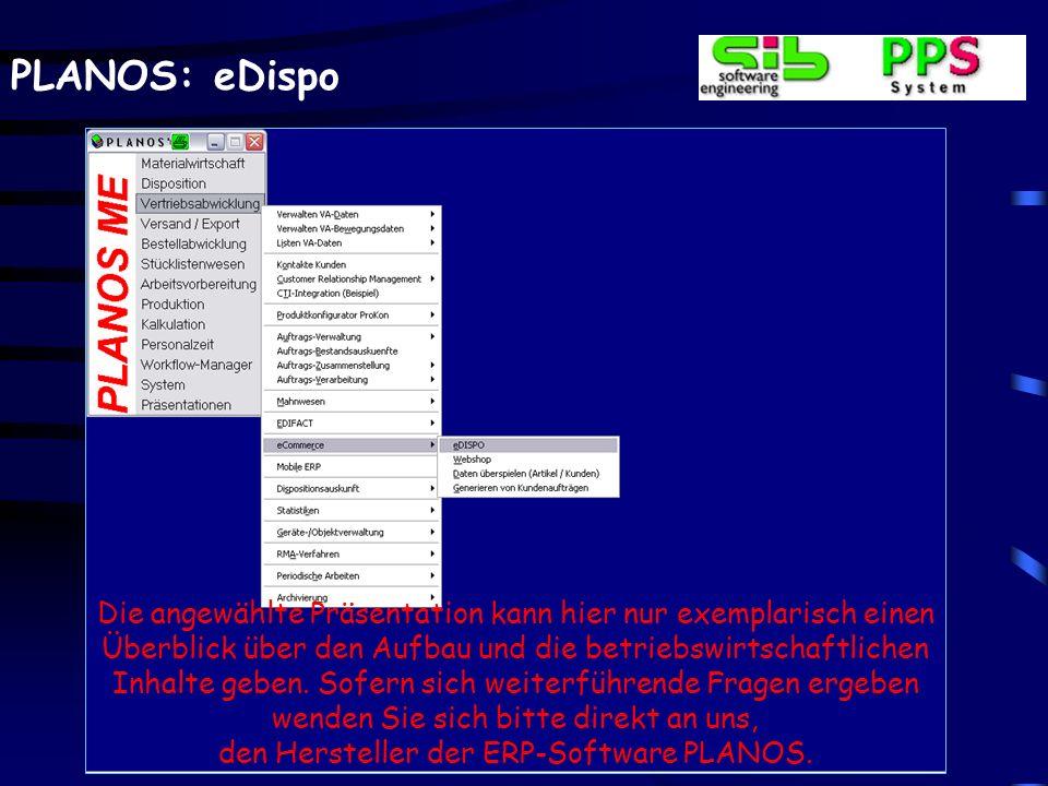 PLANOS: eDispo Die angewählte Präsentation kann hier nur exemplarisch einen Überblick über den Aufbau und die betriebswirtschaftlichen Inhalte geben.