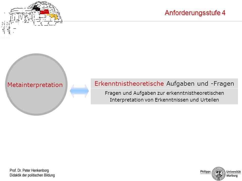 Beurteilen (AB III) Metainterpretation Fragen und Aufgaben zur erkenntnistheoretischen Interpretation von Erkenntnissen und Urteilen Aufgaben und -Fra