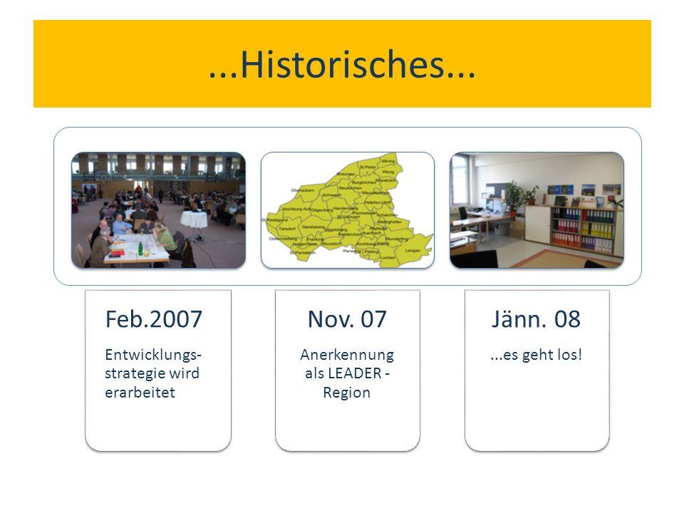 ...Historisches... Feb.2007 Entwicklungs- strategie wird erarbeitet Nov.
