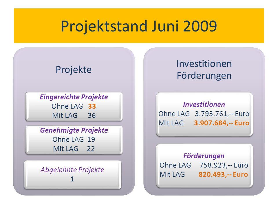 Projektstand Juni 2009 Projekte Eingereichte Projekte Ohne LAG 33 Mit LAG 36 Genehmigte Projekte Ohne LAG 19 Mit LAG 22 Abgelehnte Projekte 1 Investitionen Förderungen Investitionen Ohne LAG 3.793.761,-- Euro Mit LAG 3.907.684,-- Euro Förderungen Ohne LAG 758.923,-- Euro Mit LAG 820.493,-- Euro
