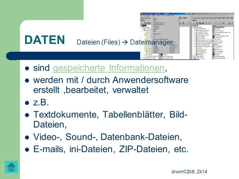 drwm©2k6..2k14 DATEN sind gespeicherte Informationen, werden mit / durch Anwendersoftware erstellt,bearbeitet, verwaltet z.B. Textdokumente, Tabellenb