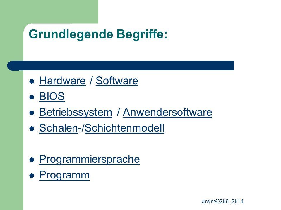 drwm©2k6..2k14 Grundlegende Begriffe: Hardware / Software HardwareSoftware BIOS Betriebssystem / Anwendersoftware BetriebssystemAnwendersoftware Schal