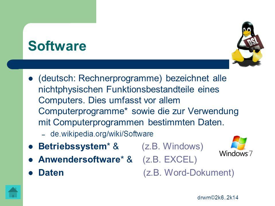 drwm©2k6..2k14 Software (deutsch: Rechnerprogramme) bezeichnet alle nichtphysischen Funktionsbestandteile eines Computers. Dies umfasst vor allem Comp