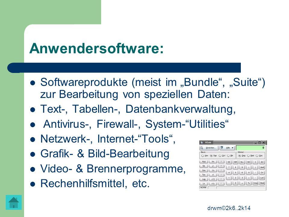 drwm©2k6..2k14 Anwendersoftware: Softwareprodukte (meist im Bundle, Suite) zur Bearbeitung von speziellen Daten: Text-, Tabellen-, Datenbankverwaltung
