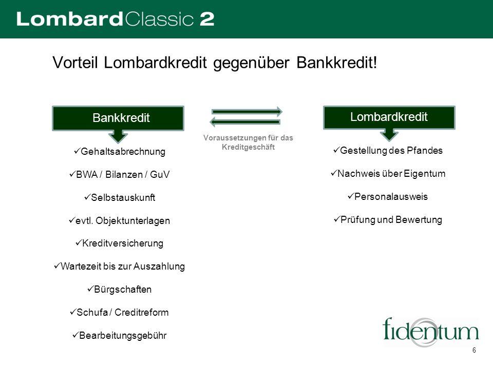 Vorteil Lombardkredit gegenüber Bankkredit! Gestellung des Pfandes Nachweis über Eigentum Personalausweis Prüfung und Bewertung Gehaltsabrechnung BWA