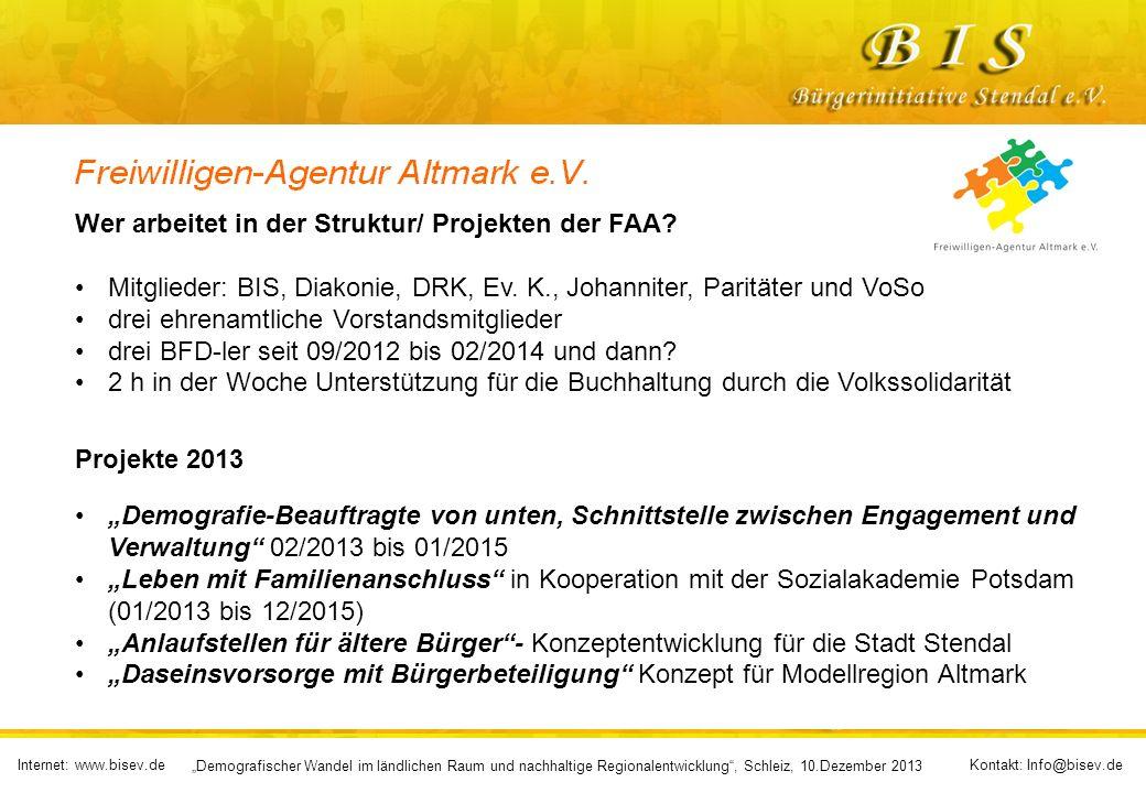 Internet: www.bisev.deKontakt: Info@bisev.de Demografischer Wandel im ländlichen Raum und nachhaltige Regionalentwicklung, Schleiz, 10.Dezember 2013 Wer arbeitet in der Struktur/ Projekten der FAA.