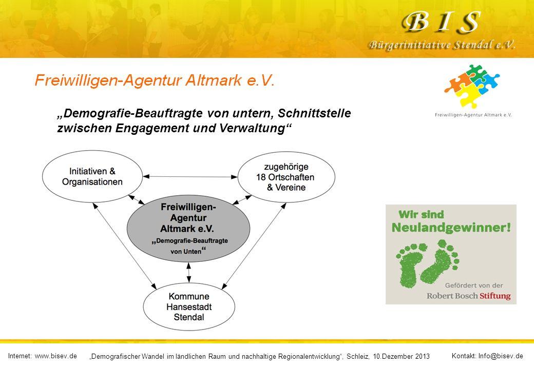 Internet: www.bisev.deKontakt: Info@bisev.de Demografischer Wandel im ländlichen Raum und nachhaltige Regionalentwicklung, Schleiz, 10.Dezember 2013 D