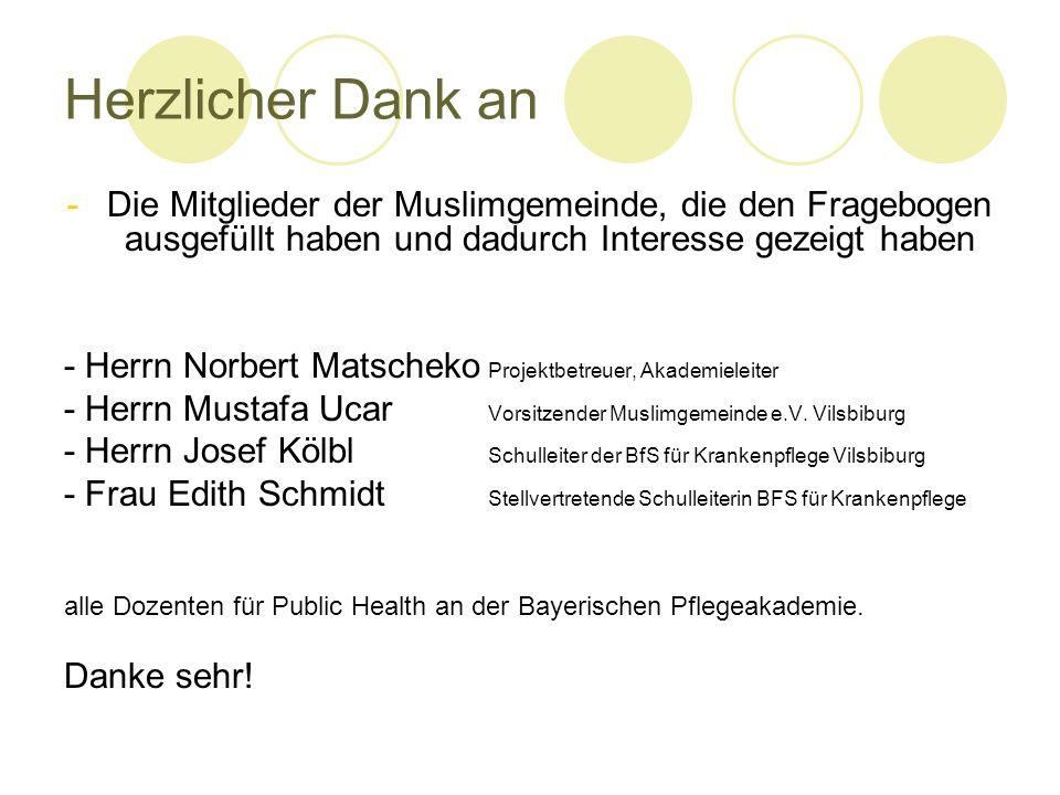 Herzlicher Dank an -Die Mitglieder der Muslimgemeinde, die den Fragebogen ausgefüllt haben und dadurch Interesse gezeigt haben - Herrn Norbert Matsche