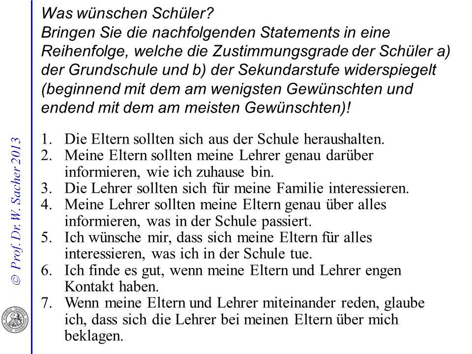 Prof. Dr. W. Sacher 2013 1.Die Eltern sollten sich aus der Schule heraushalten.