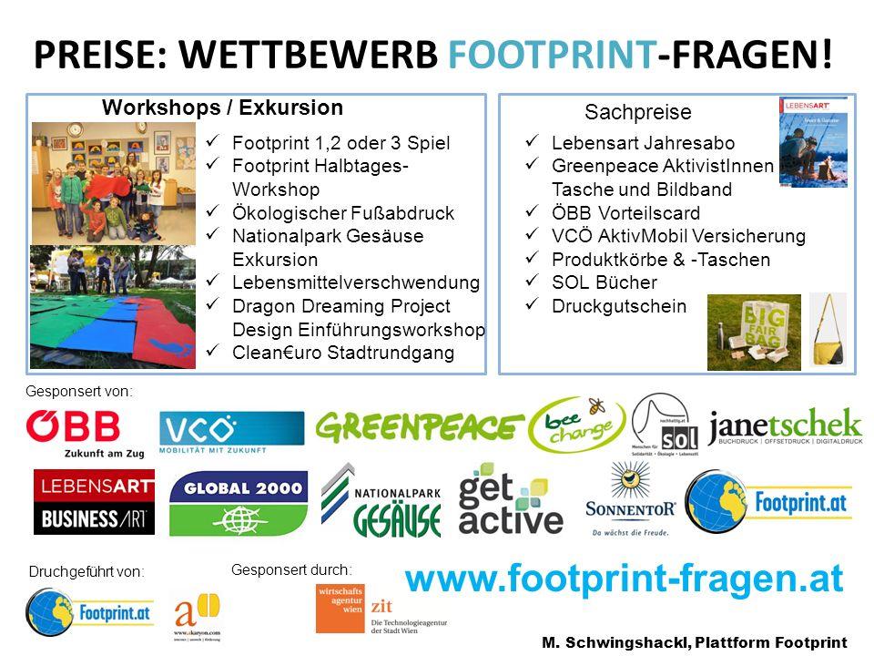 PREISE: WETTBEWERB FOOTPRINT-FRAGEN.M.