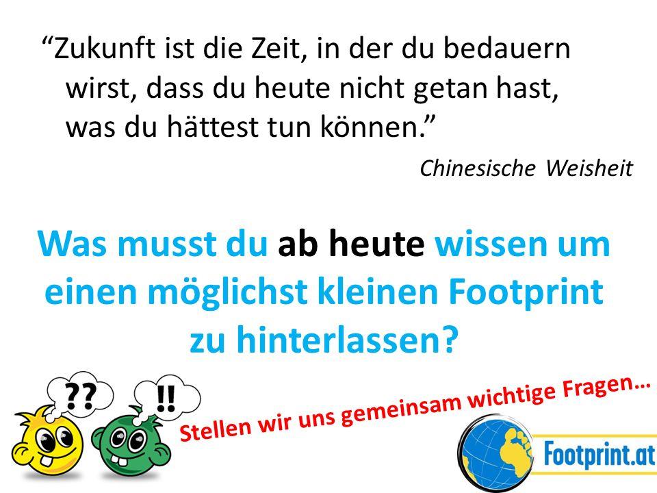 Footprint reduzieren = andere Ernährung Jause, Was/Wo/Wie/Wieviel essen oder trinken?, Verpackung, Wegwerfen, Bio, … = andere Mobilität Fliegen, Autofahren, Öffis, Elektromobilität, Radfahren, Gehen, Reisen, Schulweg, … = anders wohnen (Öko-)Strom, Energie, Technologie (z.B.