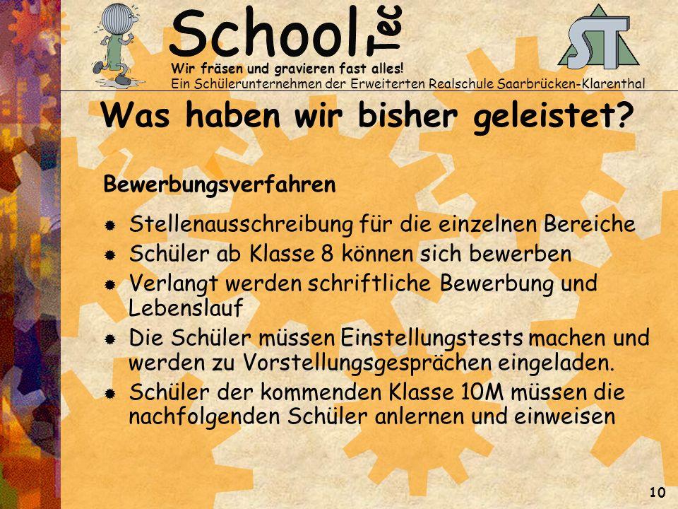 Wir fräsen und gravieren fast alles! Ein Schülerunternehmen der Erweiterten Realschule Saarbrücken-Klarenthal 10 Was haben wir bisher geleistet? Bewer