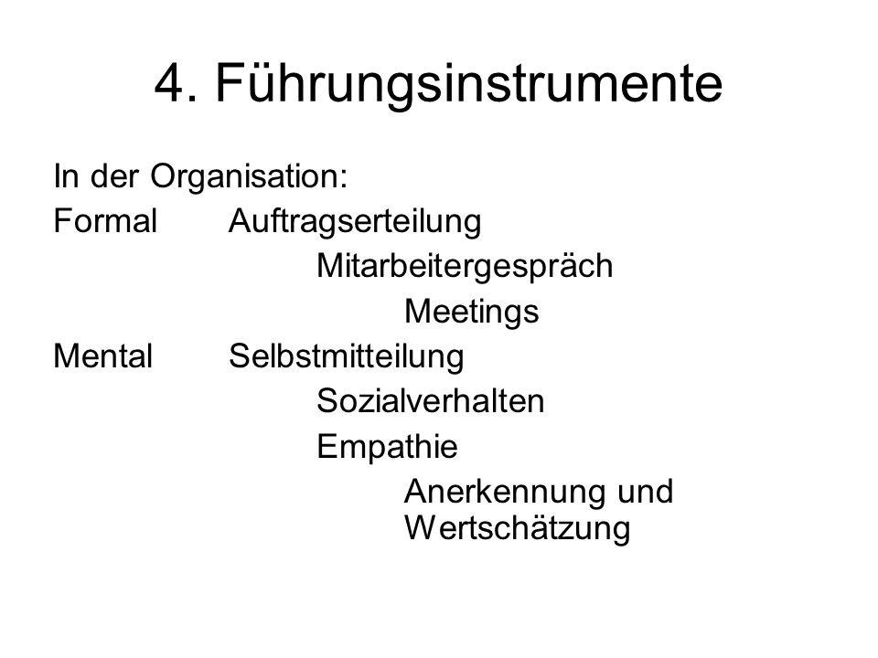 4. Führungsinstrumente In der Organisation: FormalAuftragserteilung Mitarbeitergespräch Meetings MentalSelbstmitteilung Sozialverhalten Empathie Anerk