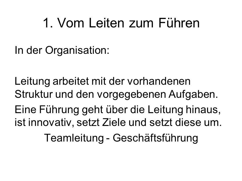 1. Vom Leiten zum Führen In der Organisation: Leitung arbeitet mit der vorhandenen Struktur und den vorgegebenen Aufgaben. Eine Führung geht über die