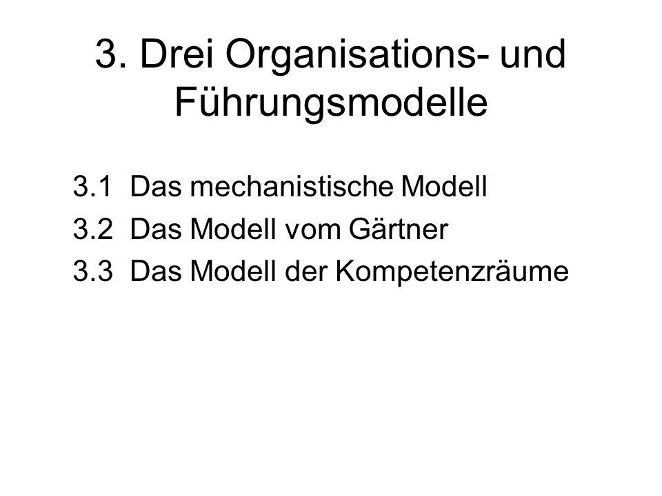 3. Drei Organisations- und Führungsmodelle 3.1 Das mechanistische Modell 3.2 Das Modell vom Gärtner 3.3 Das Modell der Kompetenzräume