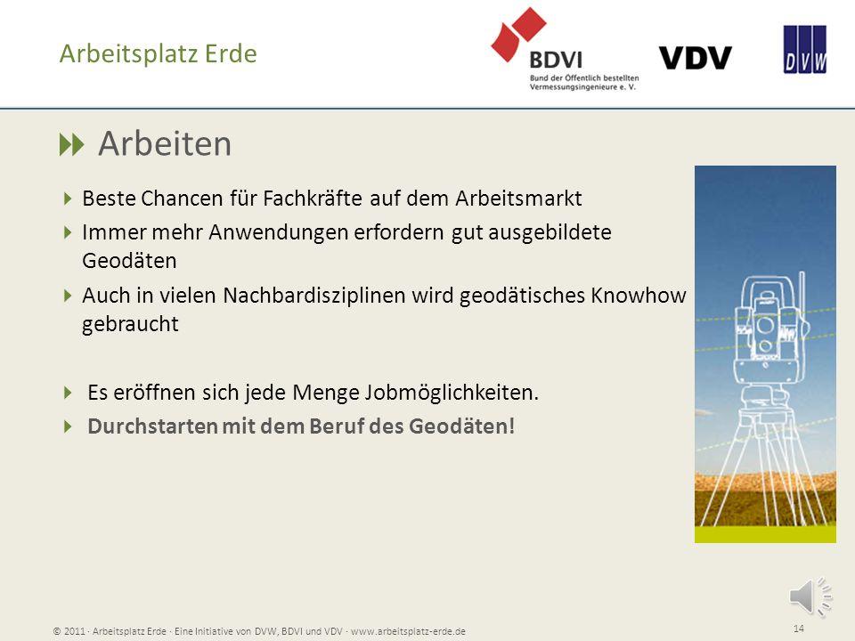 Weitere Informationen, Jobportraits, Blogs, und Downloads unter: www.arbeitsplatz-erde.de © 2011 Arbeitsplatz Erde Eine Initiative von DVW, BDVI und VDV www.arbeitsplatz-erde.de 15
