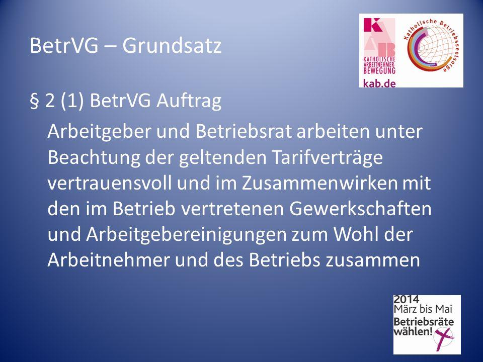 BetrVG – Grundsatz § 2 (1) BetrVG Auftrag Arbeitgeber und Betriebsrat arbeiten unter Beachtung der geltenden Tarifverträge vertrauensvoll und im Zusam