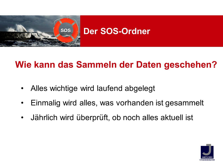 SOS Der SOS-Ordner Alles wichtige wird laufend abgelegt Einmalig wird alles, was vorhanden ist gesammelt Jährlich wird überprüft, ob noch alles aktuel