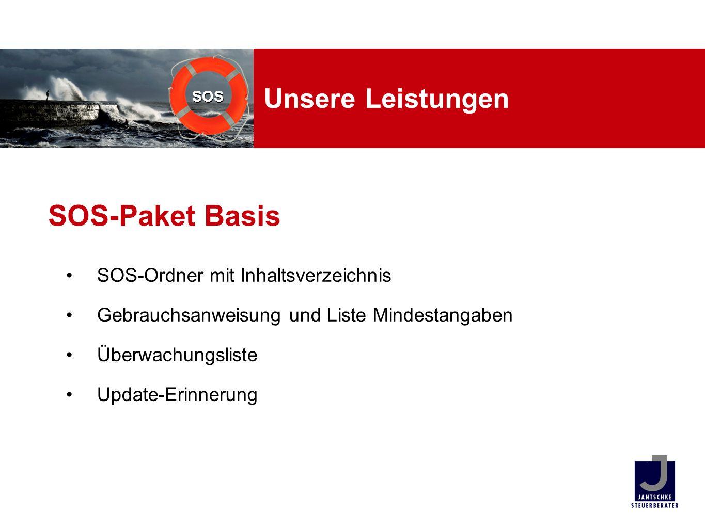 SOS Unsere Leistungen SOS-Ordner mit Inhaltsverzeichnis Gebrauchsanweisung und Liste Mindestangaben Überwachungsliste Update-Erinnerung SOS-Paket Basi