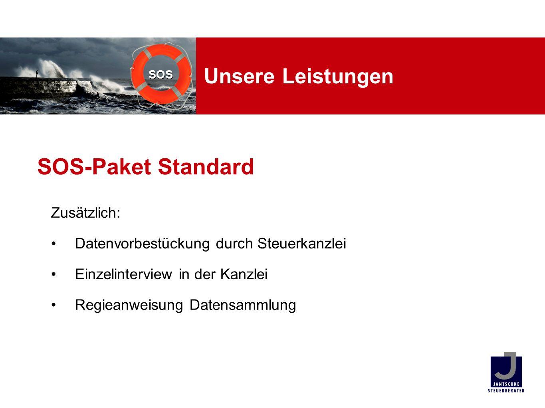 SOS Unsere Leistungen Zusätzlich: Datenvorbestückung durch Steuerkanzlei Einzelinterview in der Kanzlei Regieanweisung Datensammlung SOS-Paket Standar
