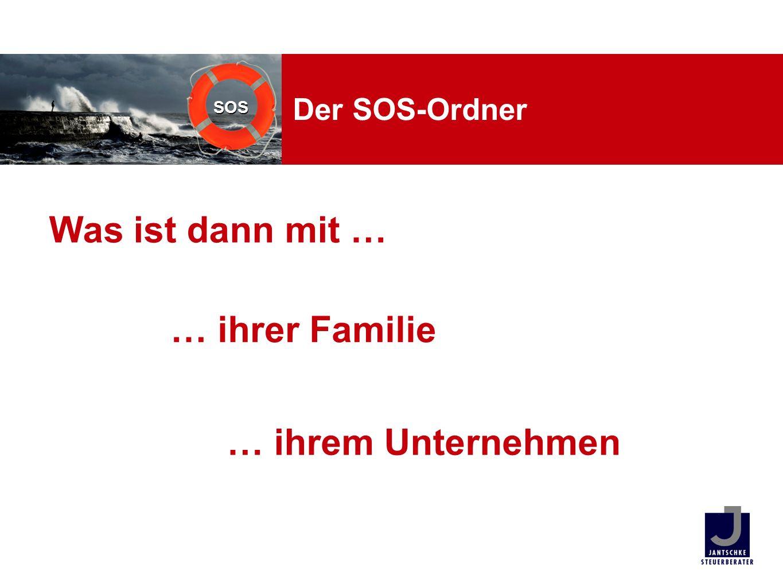 SOS Unsere Leistungen SOS-Ordner mit Inhaltsverzeichnis Gebrauchsanweisung und Liste Mindestangaben Überwachungsliste Update-Erinnerung SOS-Paket Basis