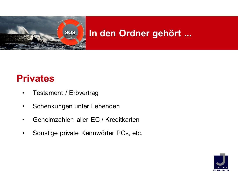SOS In den Ordner gehört... Testament / Erbvertrag Schenkungen unter Lebenden Geheimzahlen aller EC / Kreditkarten Sonstige private Kennwörter PCs, et