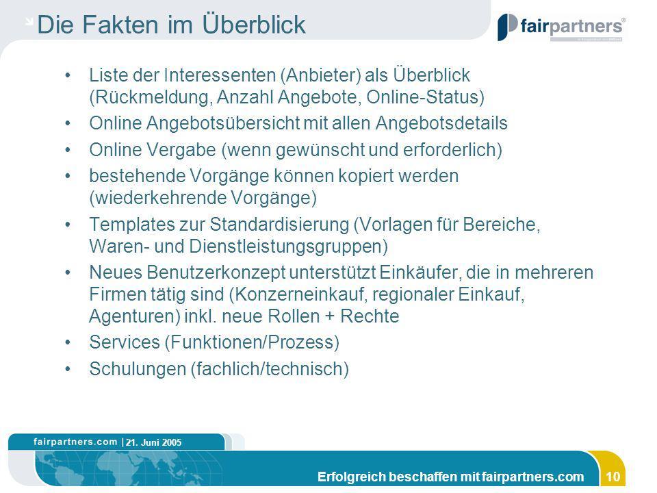 21. Juni 2005 Erfolgreich beschaffen mit fairpartners.com10 Die Fakten im Überblick Liste der Interessenten (Anbieter) als Überblick (Rückmeldung, Anz