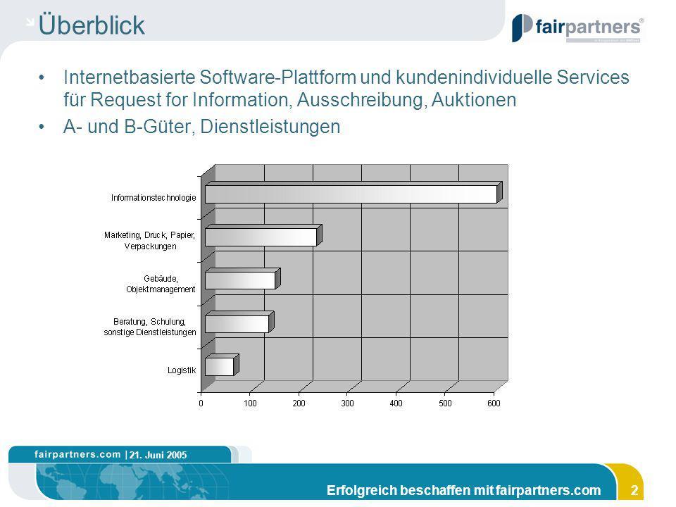 21. Juni 2005 Erfolgreich beschaffen mit fairpartners.com2 Überblick Internetbasierte Software-Plattform und kundenindividuelle Services für Request f