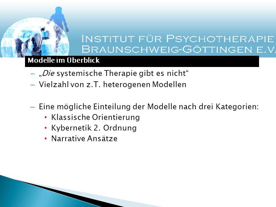 –Die systemische Therapie gibt es nicht – Vielzahl von z.T. heterogenen Modellen – Eine mögliche Einteilung der Modelle nach drei Kategorien: Klassisc