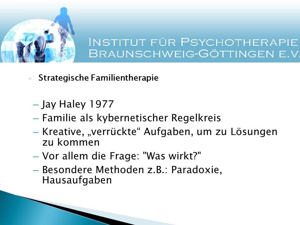 Strategische Familientherapie – Jay Haley 1977 – Familie als kybernetischer Regelkreis – Kreative, verrückte Aufgaben, um zu Lösungen zu kommen – Vor allem die Frage: Was wirkt? – Besondere Methoden z.B.: Paradoxie, Hausaufgaben