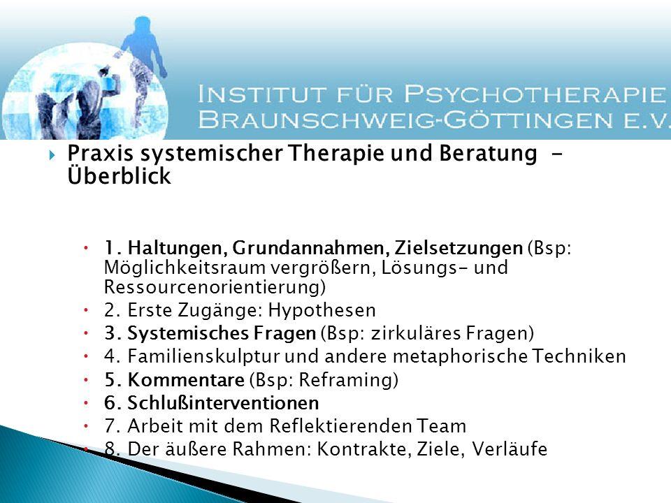Praxis systemischer Therapie und Beratung - Überblick 1. Haltungen, Grundannahmen, Zielsetzungen (Bsp: Möglichkeitsraum vergrößern, Lösungs- und Resso