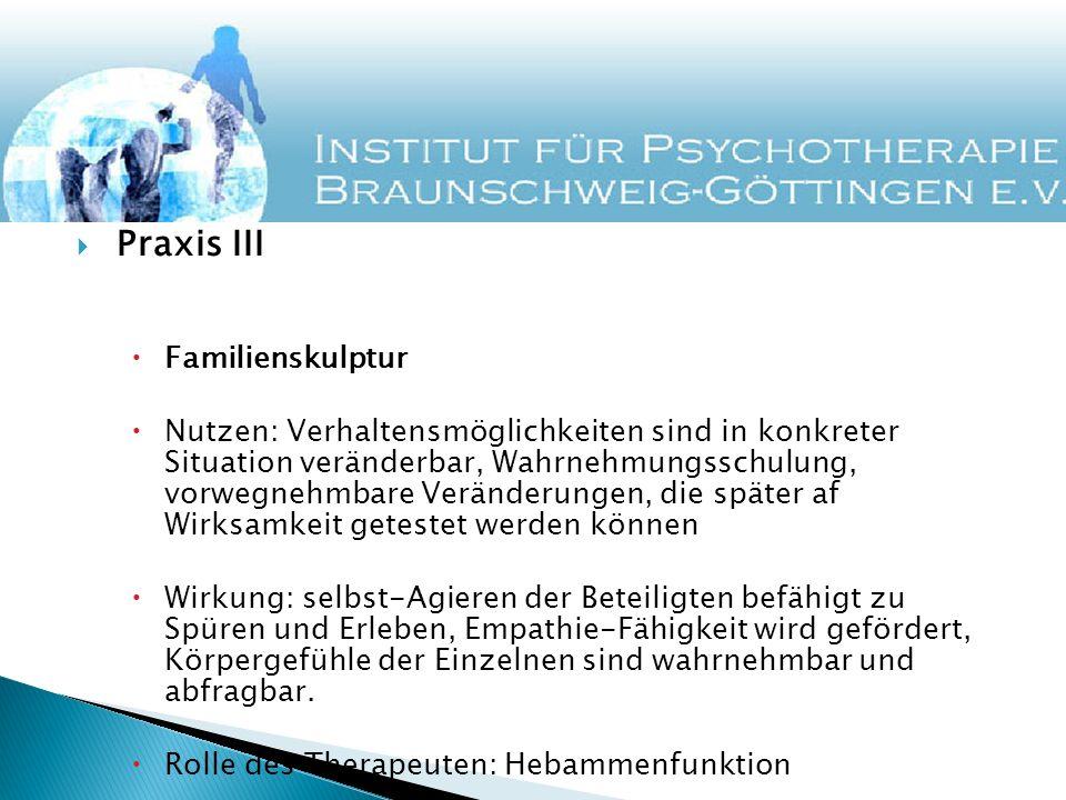 Praxis III Familienskulptur Nutzen: Verhaltensmöglichkeiten sind in konkreter Situation veränderbar, Wahrnehmungsschulung, vorwegnehmbare Veränderunge