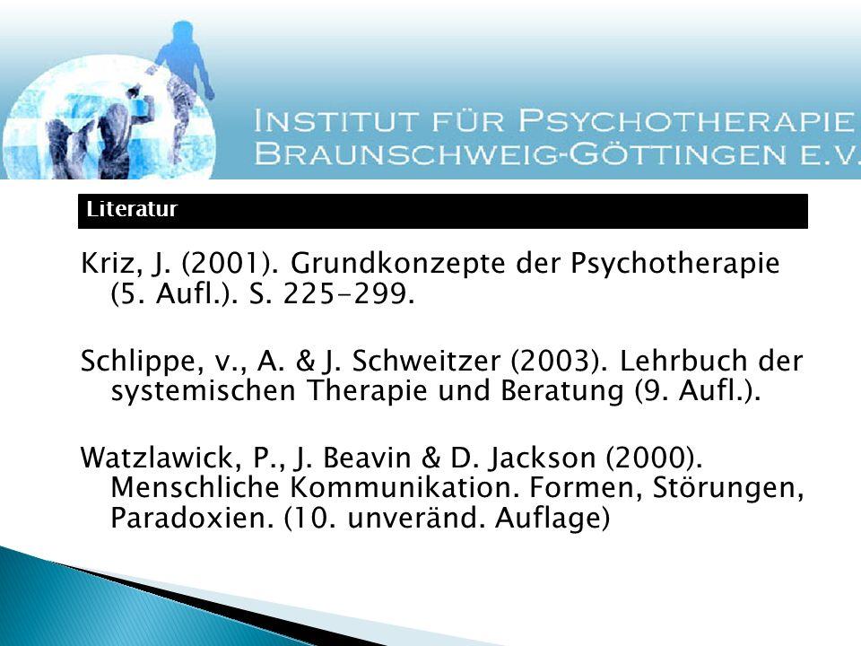 Kriz, J. (2001). Grundkonzepte der Psychotherapie (5. Aufl.). S. 225-299. Schlippe, v., A. & J. Schweitzer (2003). Lehrbuch der systemischen Therapie