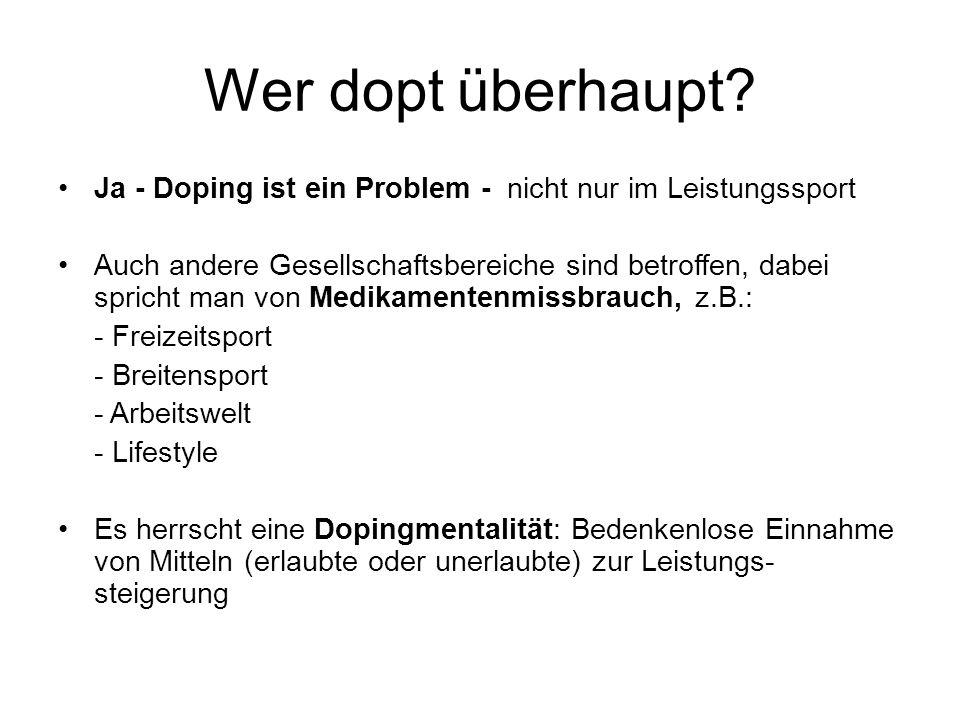 Was ist Doping Bewusstes Doping ist der Versuch, mit verbotenen Mitteln seine Leistung zu steigern, um sich einen Vorteil gegenüber seinen Gegnern zu verschaffen Doping ist alles das, was auf der aktuellen Verbotsliste steht Doping ist verboten und Doping ist Betrug.