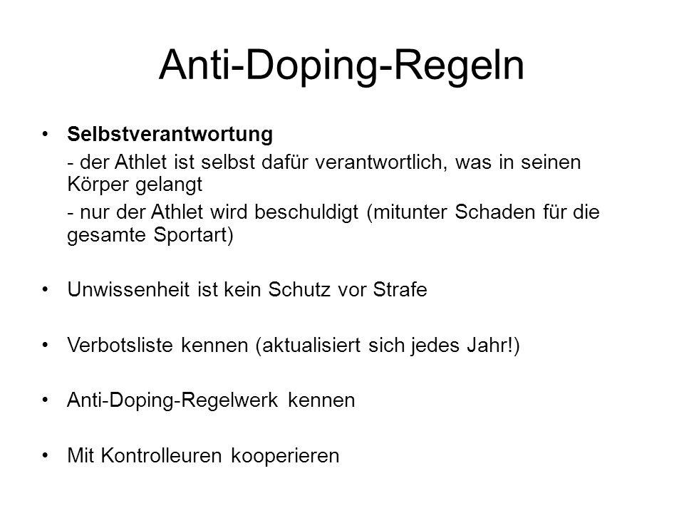 Anti-Doping-Regeln Selbstverantwortung - der Athlet ist selbst dafür verantwortlich, was in seinen Körper gelangt - nur der Athlet wird beschuldigt (m